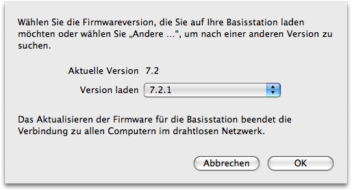 AirPort Apple Firmware - Auswahl