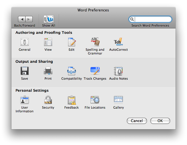 Word 2008 Mac Settings