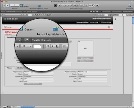 FileMaker 10 Neues Layout