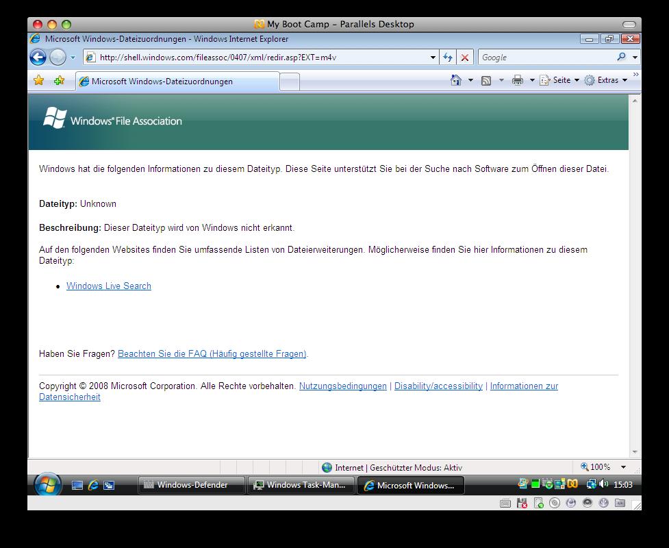 Windows Vista M4V MP4 Extension, Dateierweiterung